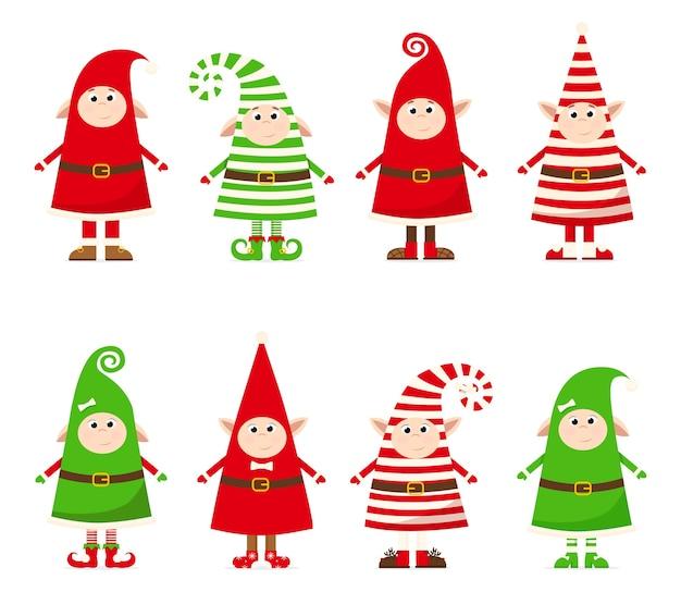 Coleção de gnomos em fantasias de natal