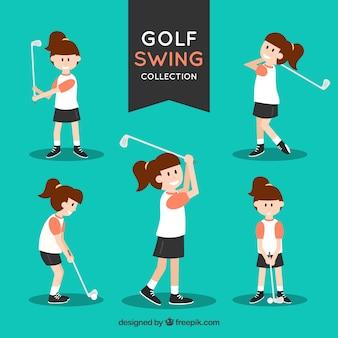 Coleção de golfe swing com jogadores
