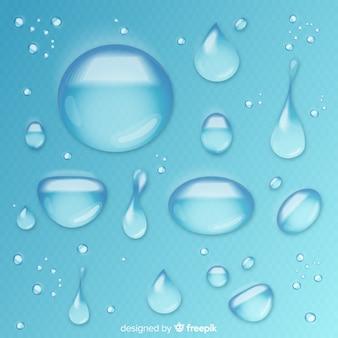 Coleção de gotas de água realistas