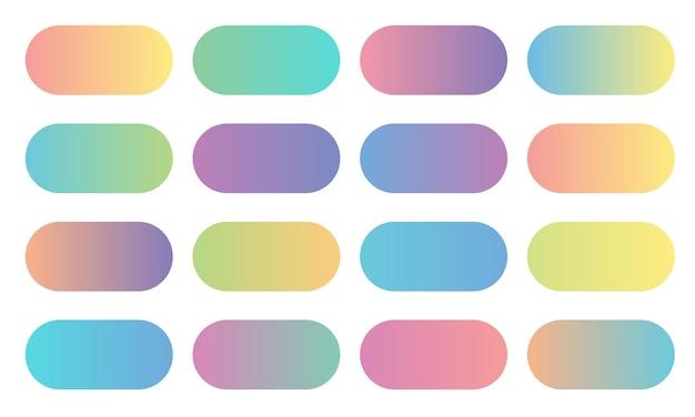 Coleção de gradiente de cores suaves. conjunto de botões coloridos arredondados.