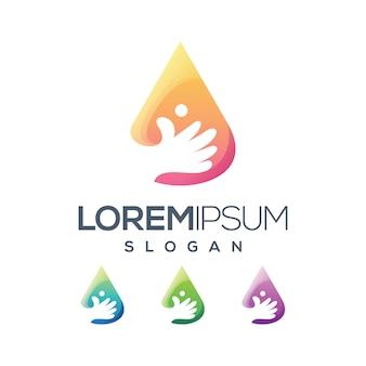 Coleção de gradiente de logotipo de botão de mão