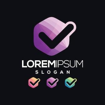 Coleção de gradiente de logotipo de lista de verificação