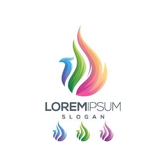 Coleção de gradiente de logotipo de phoenix