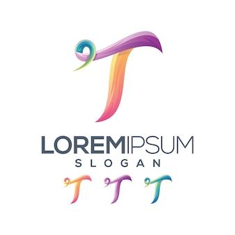 Coleção de gradiente de logotipo letra t