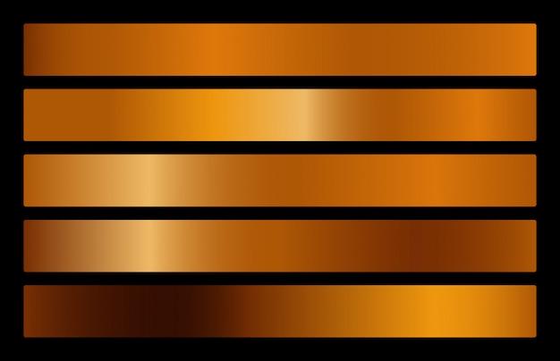 Coleção de gradiente de metal ouro e conjunto de textura de folha de ouro.