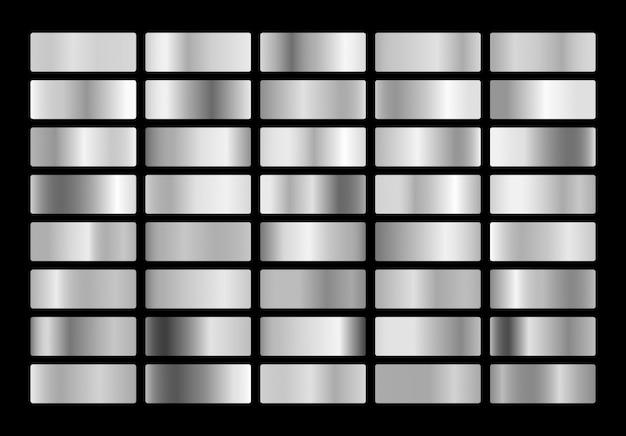 Coleção de gradiente de metal prata