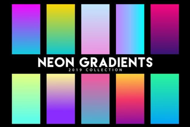 Coleção de gradiente de néon 2019