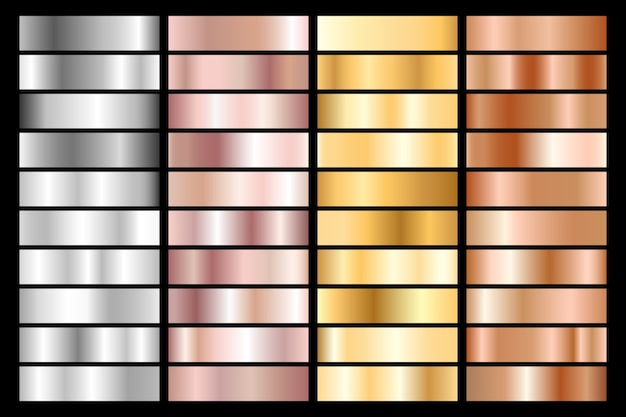 Coleção de gradiente metálico prata, cromo, ouro, ouro rosa e bronze.