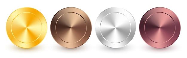 Coleção de gradiente metálico radial de ouro, ouro rosa, prata, cromo, bronze. placas brilhantes com efeito metálico de ouro, prata, cromo, bronze.