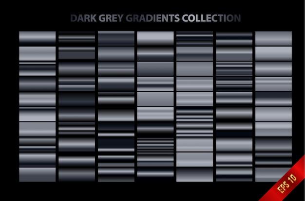 Coleção de gradientes cinza escuro
