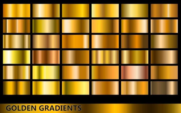 Coleção de gradientes dourados, com vários tipos diferentes de cores douradas
