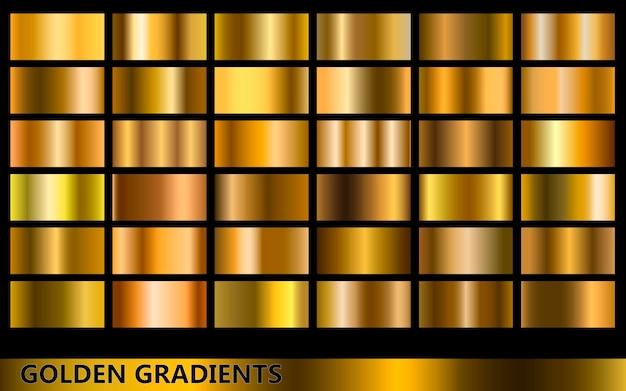 Coleção de gradientes dourados mais escuros, com vários tipos diferentes de cores douradas