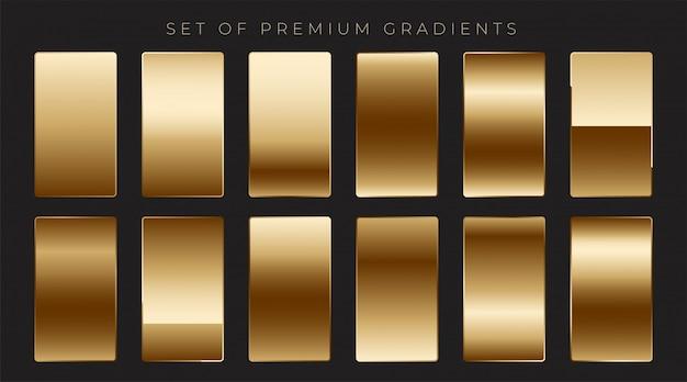 Coleção de gradientes dourados mettálicos brilhantes