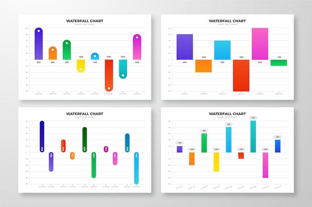 Coleção de gráfico de cachoeira de design gradiente