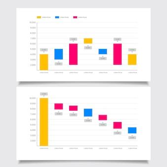 Coleção de gráfico de cachoeira de design plano