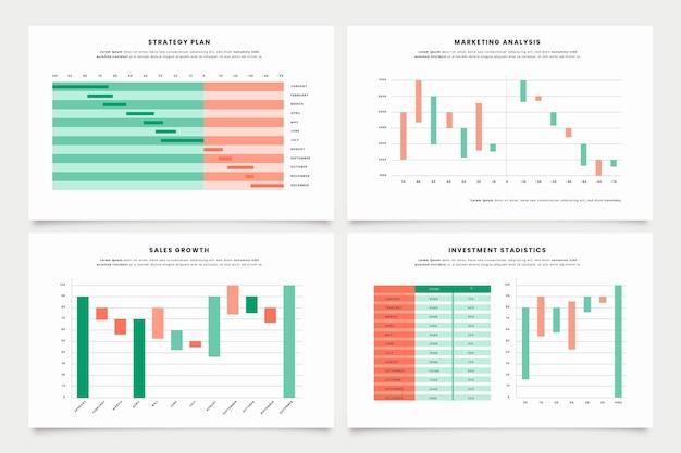 Coleção de gráfico de cachoeira em design plano