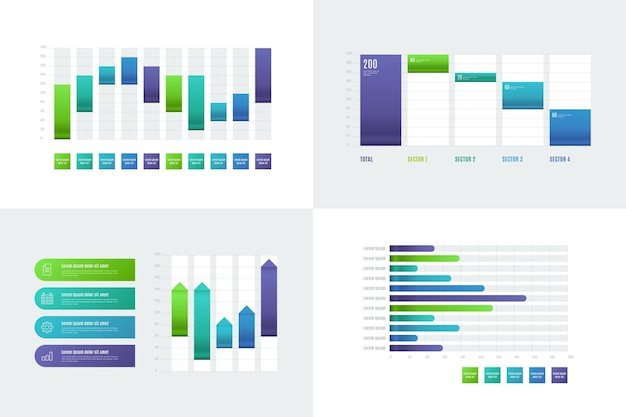 Coleção de gráfico de cachoeira gradiente
