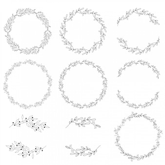 Coleção de grinalda de primavera doodle