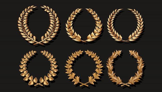 Coleção de grinalda dourada.