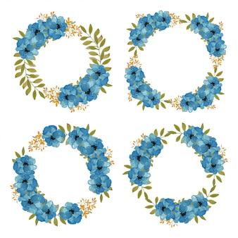 Coleção de grinalda floral azul aquarela de pintados à mão
