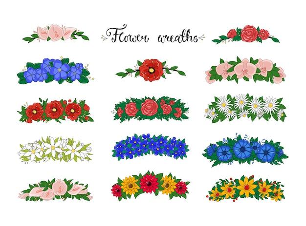 Coleção de grinaldas de flores isolada no branco