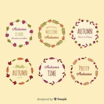 Coleção de grinaldas de outono mão desenhada