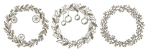 Coleção de grinaldas florais de natal