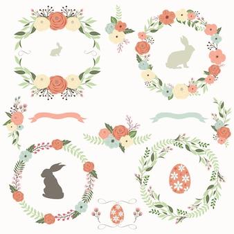 Coleção de grinaldas florais de páscoa