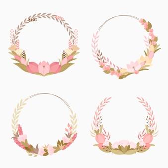 Coleção de grinaldas florais lindas de design plano