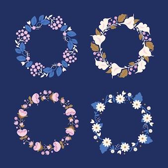 Coleção de grinaldas florais planas