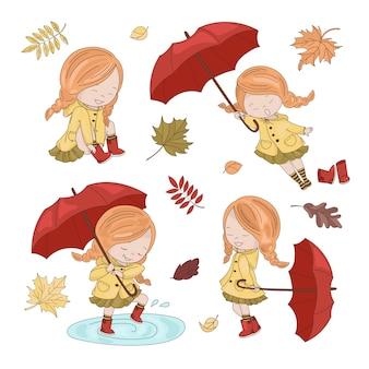 Coleção de guarda-chuva personagem autumn girl