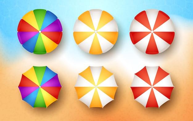 Coleção de guarda-chuvas de praia colorfull