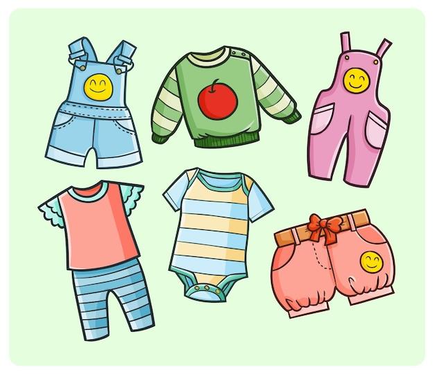 Coleção de guarda-roupa para crianças em estilo doodle simples