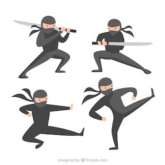 Coleção de guerreiro ninja com design plano