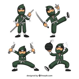 Coleção de guerreiro ninja em diferentes posses