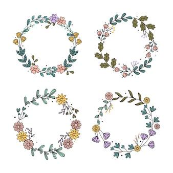 Coleção de guirlandas florais desenhadas à mão
