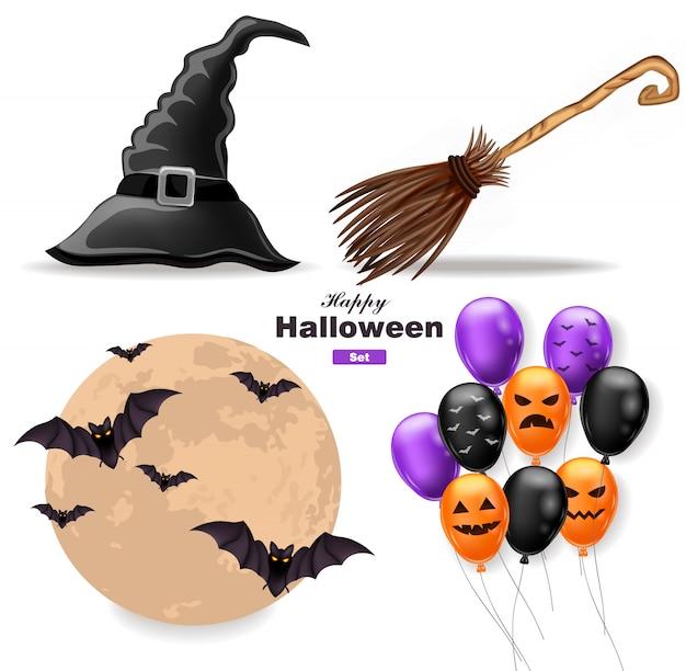 Coleção de halloween com lua, balões, chapéu de bruxa e vassoura