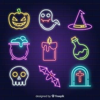 Coleção de halloween com sinais de néon
