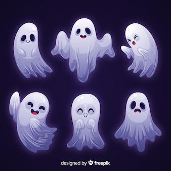 Coleção de halloween de fantasma de luz branca