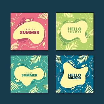 Coleção de hello summer instagram post
