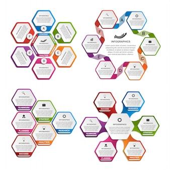 Coleção de hexágono colorido para infográficos.
