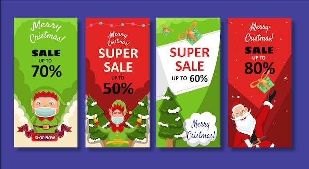 Coleção de história de banner de instagram de venda de natal. santa claus.elf.