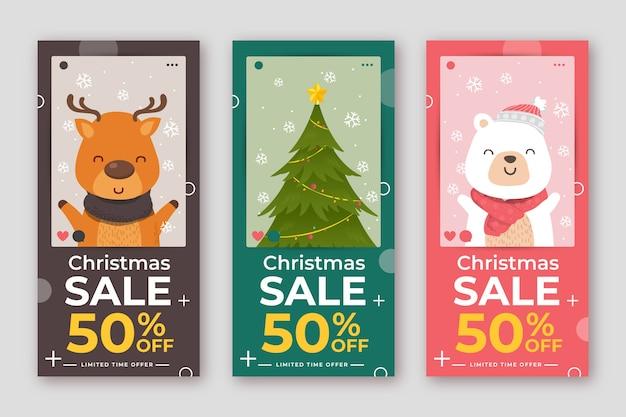 Coleção de história de instagram de venda de natal