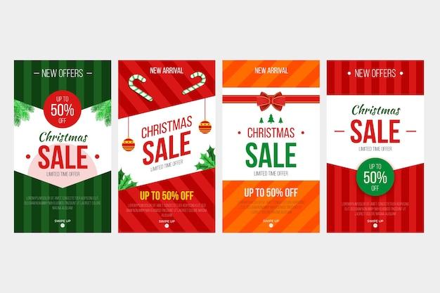 Coleção de história de instagram de venda de natal Vetor grátis