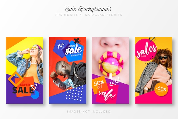 Coleção de história de venda com cores modernas