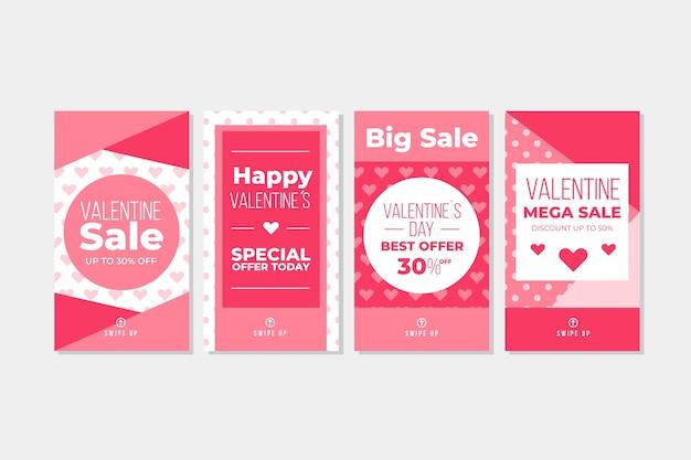 Coleção de história de venda de dia dos namorados