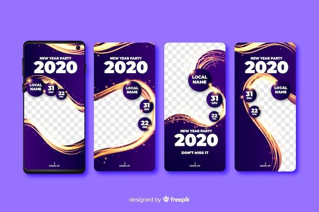 Coleção de história do instagram de ano novo 2020