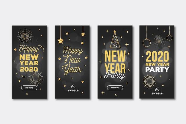 Coleção de história do instagram de festa de ano novo 2020