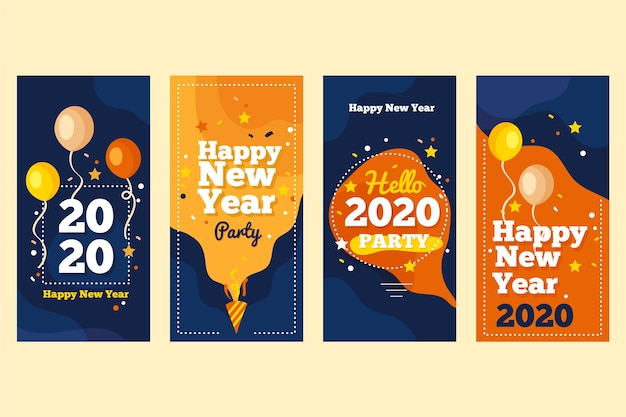 Coleção de história do instagram de festa de ano novo em 2020