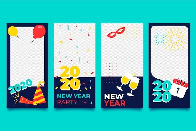 Coleção de história do instagram de festa de ano novo